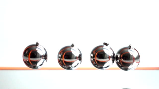 Newton's Cradle pendulum slow motion video