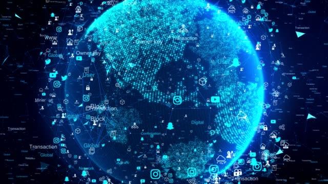 next technology network and digital earth 4k - big data video stock e b–roll