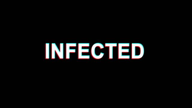 nfected グリッチ効果テキストデジタルテレビディストーション 4 k ループアニメーション - ウイルス対策ソフト点の映像素材/bロール