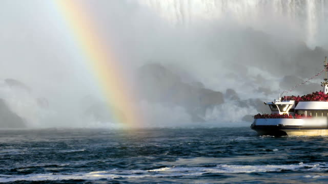 Niagara Falls Hornblower Tour Boat under Horseshoe Waterfall Rainbow