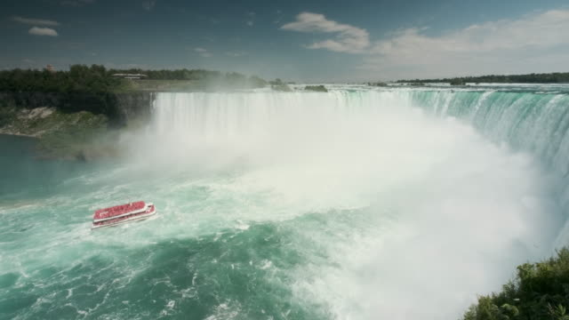 niagara falls is the collective name for three waterfalls that straddle the international border between canada and the united states - онтарио канада стоковые видео и кадры b-roll