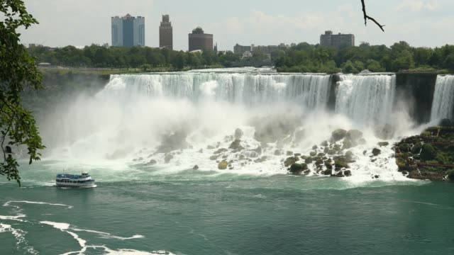 niagara river by the horseshoe falls in the summer - niagara falls stock videos & royalty-free footage