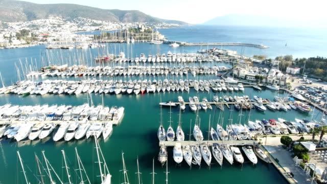 Nice Aerial Footage for Bodrum Marina and Castle video