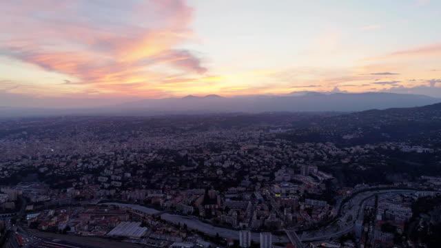 Nice France city nightligts drone sunset roze sea