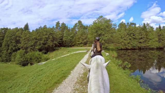 POV Nice horseback ride with friends across bridge