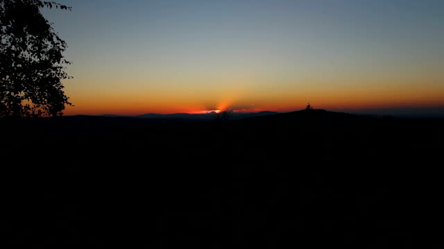 Nice time lapse sunset on summer Czech mountain landscape