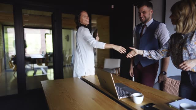 Nice to Meet New Candidate Recruiter Shaking Hands With Candidate On Job Interview job interview stock videos & royalty-free footage