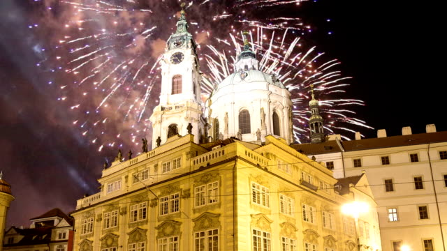 Nicholas Church in Mala Strana or Lesser side and holiday fireworks , beautiful old part of Prague, Czech Republic (Night view) Nicholas Church in Mala Strana or Lesser side and holiday fireworks , beautiful old part of Prague, Czech Republic (Night view) us coin stock videos & royalty-free footage
