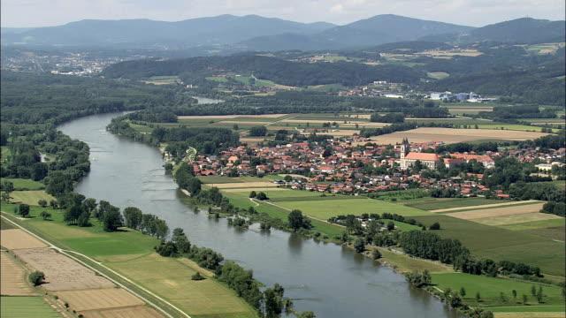 Niederalteich  - Aerial View - Bavaria,  Lower Bavaria,  Landkreis Deggendorf helicopter filming,  aerial video,  cineflex,  establishing shot,  Germany video
