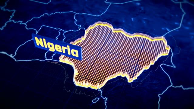 nigeria country border 3d visualization, modern map outline, travel - континент географический объект стоковые видео и кадры b-roll