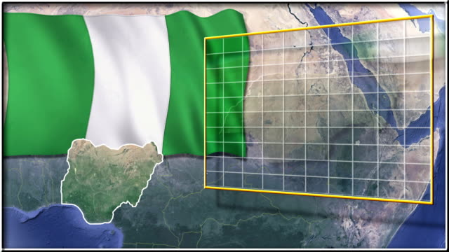 Nigeria flag and map animation video
