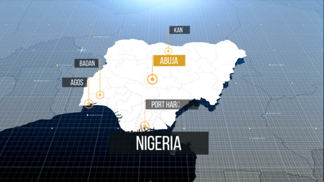 nigerian map with label then with out label - nigeria video stock e b–roll