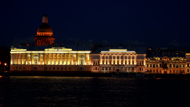 Night Admiralty embankment of St. Petersburg video
