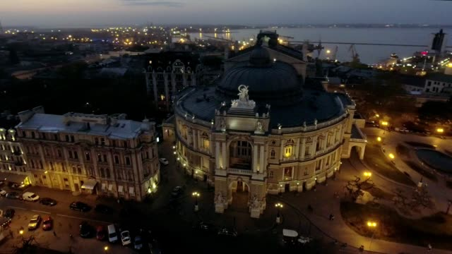 Night Aerial view of Odessa Opera house in Ukraine video
