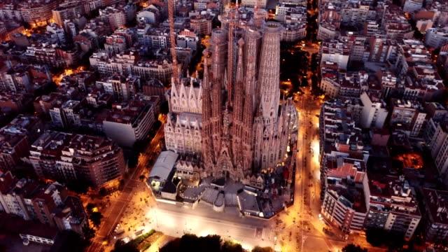Night aerial view of Sagrada Familia
