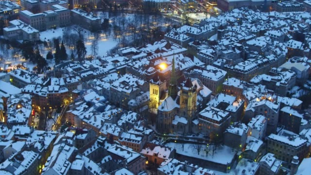 Night Aerial View of St-Pierre Cathedral in Geneva Old City