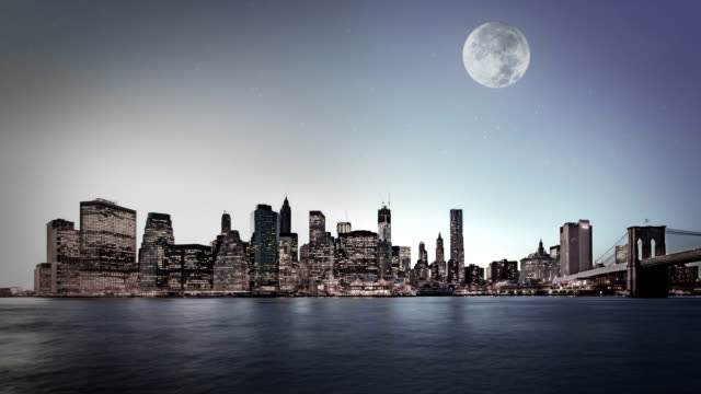 night background with silhouette of city and moon video