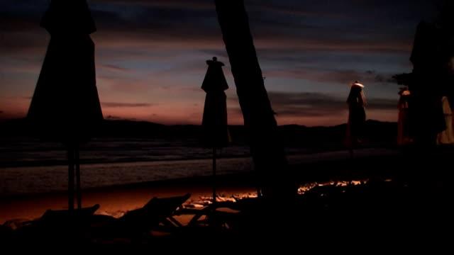 Night beach scene video