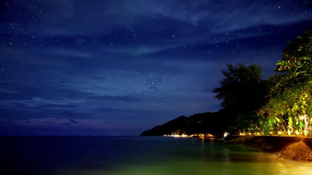 Night beach time lapse video