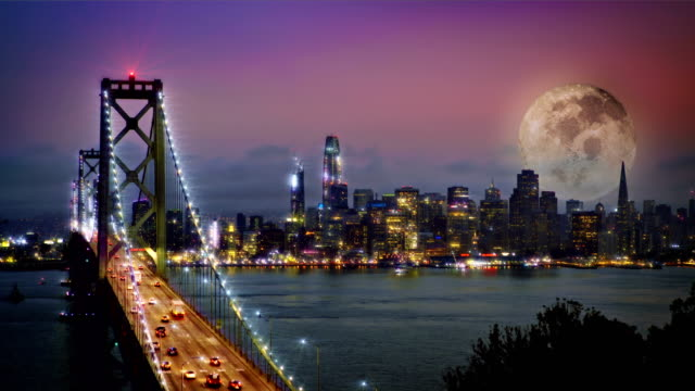 Night, Bridge and moon with city background video