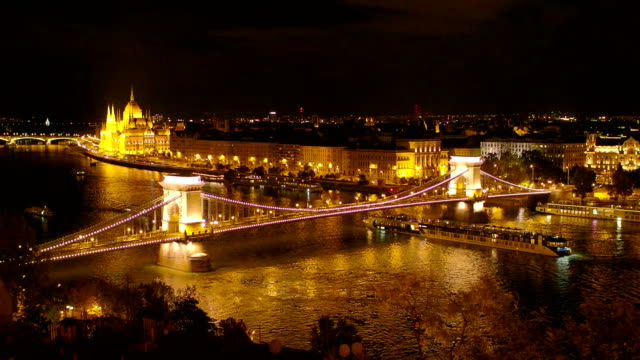 Night Budapest View with Famous Chain Bridge with Hungarian Parlament Building video