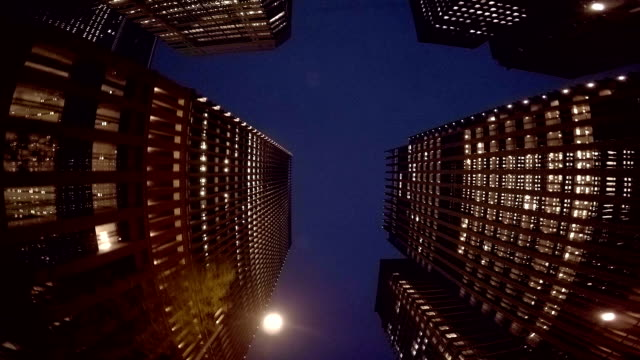 Night building - slow motion video