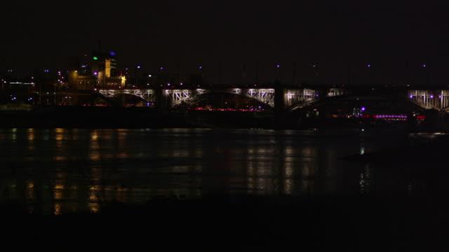 Night city panorama. Lights and neons