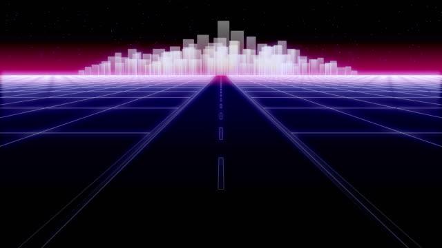 night city road 80 Retro Background Loop 3d render