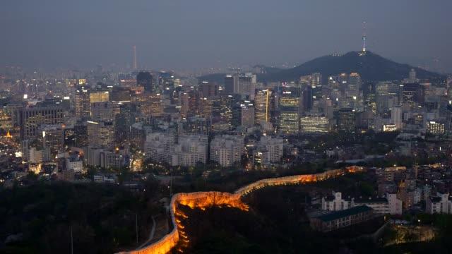 Night cityscape of Seoul, South Korea. Pannnig shot. Night cityscape of Seoul, South Korea. Pannnig shot. namsan seoul stock videos & royalty-free footage