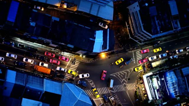 4K Night cityscape of traffic jam in Bangkok video
