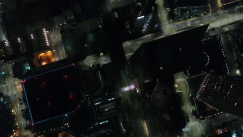 notte downtown di los angeles / vista dall'alto - centro della città video stock e b–roll
