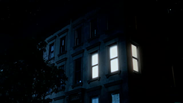 Night Establishing Shot of Typical Brooklyn Brownstone Upper Floors video