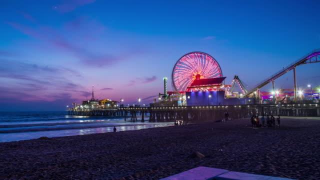 Night Fall On Santa Monica Pier Timelapse video