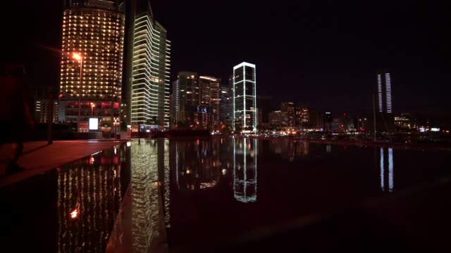 Night falls in Zaytunay Bay marina, Beirut, Lebanon Zaytunay Bay marina, Beirut, Lebanon. Reflections on the water. beirut stock videos & royalty-free footage