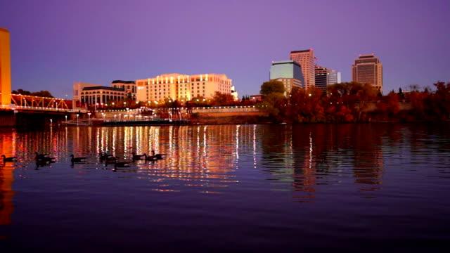 Night Falls Sacramento Downtown City Skyline River Waterfowl Ducks video