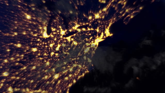 night flight from new york to orbit the earth. loopable. - world map stock videos & royalty-free footage