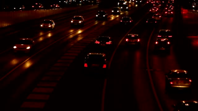 Night Highway Traffic. Real time. video