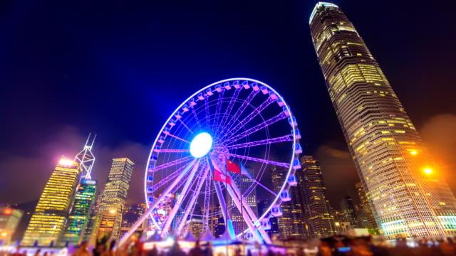 Night Hong Kong Observation Ferris Wheel Landmark Travel Places Of Hong Kong 4K Time Lapse video