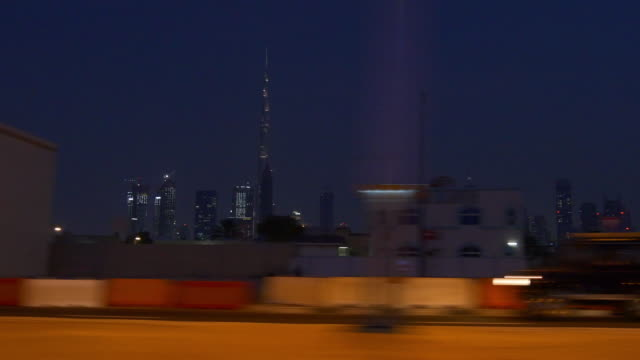 night illuminated dubai city al wasl road trip downtown  4k united arab emirates video