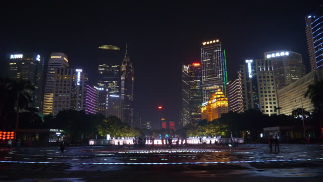 night illuminated guangzhou city downtown fountain square panorama 4k china night illuminated guangzhou city downtown fountain square panorama 4k china high dynamic range imaging stock videos & royalty-free footage