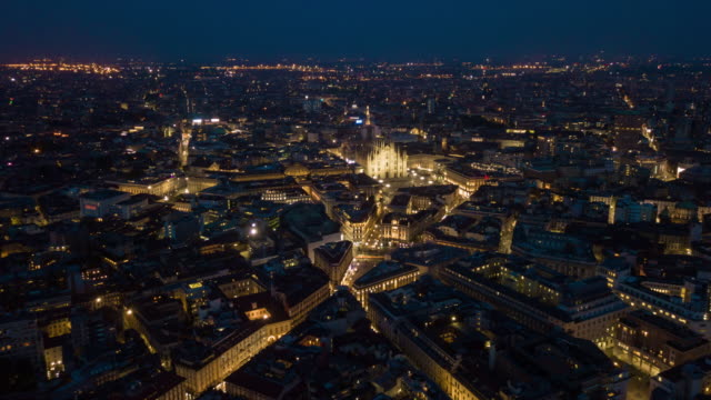 night illuminated malan city center aerial panorama 4k time lapse italy - milan video stock e b–roll