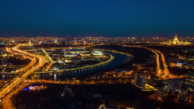 natten upplyst moskva stadsbild trafik gatan crossroad antenn panorama 4 k tid förfaller ryssland - moskva bildbanksvideor och videomaterial från bakom kulisserna