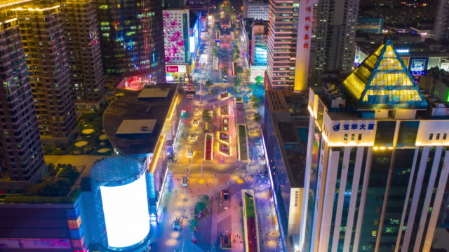 night illuminated shenzhen city commercial street aerial timelapse 4k china - шэньчжэнь стоковые видео и кадры b-roll
