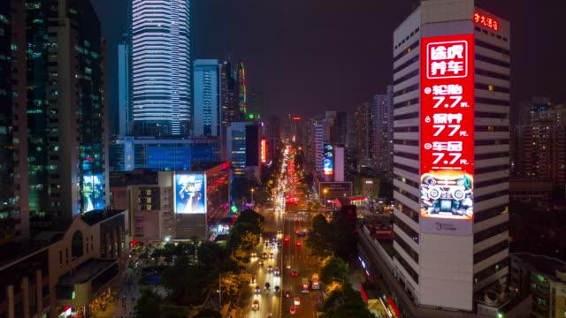 nacht erleuchtet shenzhen verkehr straße aerial panorama zeitraffer 4k china - china stock-videos und b-roll-filmmaterial