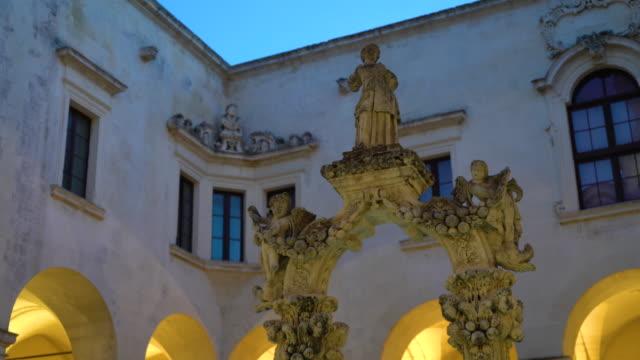 night illuminated view of the museo diocesano d'arte sacra - lecce video stock e b–roll