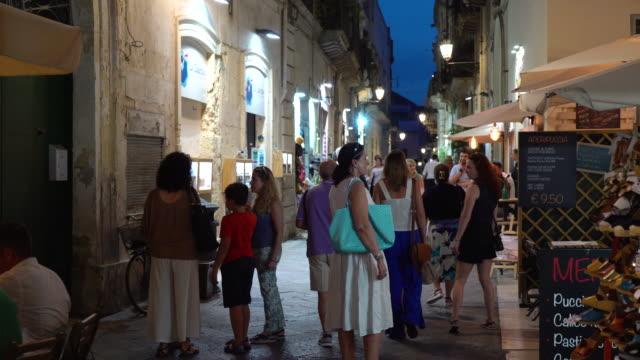 night illuminated view of the via giuseppe libertini - lecce video stock e b–roll