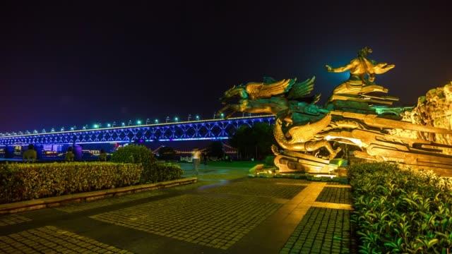 night illuminated wuhan city riverside monument dayu shenhua bridge panorama 4k time lapse china