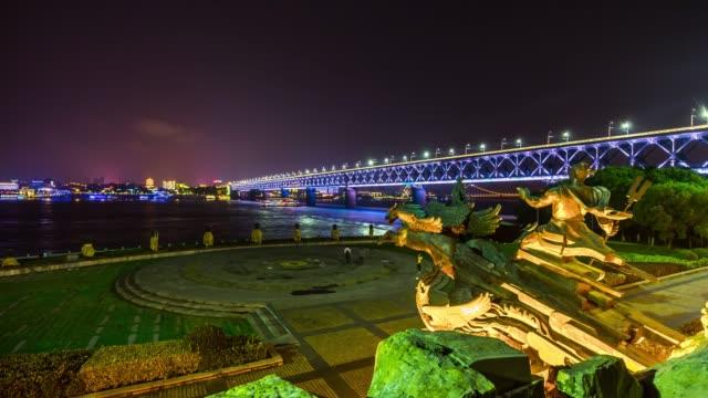 night illuminated wuhan riverside monument dayu shenhua bridge view point panorama 4k time lapse china