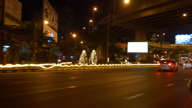 night illumination bangkok traffic street trip taxi ride panorama 4k thailand video