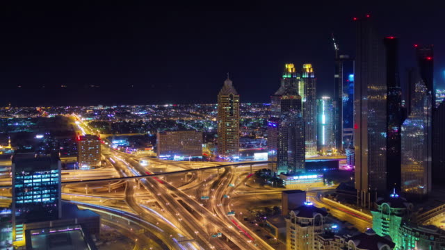 night illumination dubai city downtown traffic road junction 4k time lapse united arab emirates video